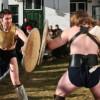 Reconstituiri ale luptelor de gladiatori făcute de membrii Asociaţiei Virtus Antiqua, la Călugăreni