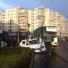 Accident între un tramvai și o mașină de poliție