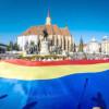 Steag tricolor de 300 de metri pătraţi, desfăşurat lângă Monumentul Memorandiştilor